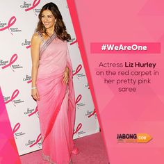 """English actress and model Elizabeth Jane """"Liz"""" Hurley looks adorable and glamorous in her glittering pink color and silver border saree. No doubt she formed an unforgettable impression. #WeAreOne #JabongWorld"""