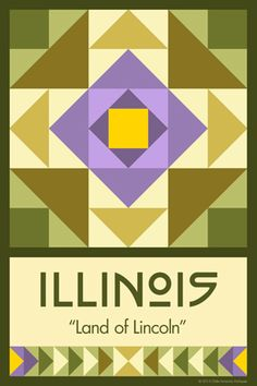 Olde America Antiques | Quilt Blocks | National Parks | Bozeman Montana : 50 STATE QUILT BLOCK SERIES - ILLINOIS - version 2