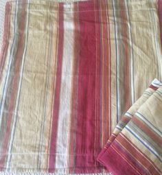 Pair Pottery Barn Euro Pillow Covers Joshua Stripe Serape Red Blue Tan Orange 2 | eBay