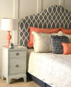 Coral and grey... love this headboard!!!! Maybe a DIY project for the master?!?!?