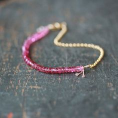 Pink Tourmaline Beaded Bracelet Ombre Gemstone Color Spectrum Light to Dark Gold Filled Chain Delicate Jewelry