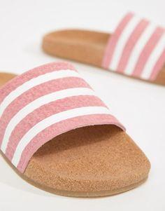 3ca401ec26c1 adidas Originals Cork Adilette Slider Sandals In Pink