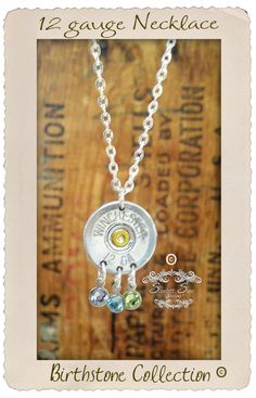 12 gauge Shotgun Bullet Jewelry Birthstone by ScarlettSage on Etsy, $26.50 Great twist to a mothers necklace