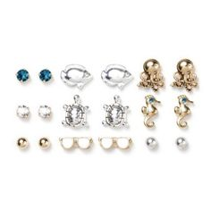 Ocean Inspired Stud Earrings Set of 9    Love the 'gold' octopuses.