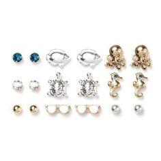 Ocean Inspired Stud Earrings Set of 9    Love the 'gold' octopuses.
