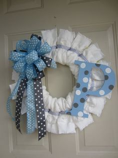 blue white and grey baby boy diaper wreath with polka dot initial and chevron ribbon