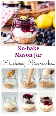 Perfectly Portable Picnic puddings - no-bake blueberry mason jar cheesecakes. Easily made gluten-free too.#contest