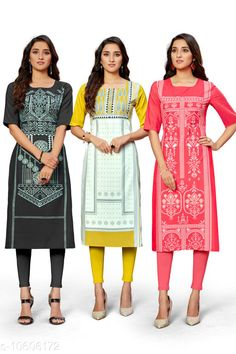 Checkout this latest Kurtis Product Name: *Trendy Women's Kurti* Fabric: Crepe Sleeve Length: Short Sleeves Pattern: Printed Combo of: Combo of 3 Sizes: S (Bust Size: 36 in, Size Length: 44 in)  M (Bust Size: 38 in, Size Length: 44 in)  L (Bust Size: 40 in, Size Length: 44 in)  XL (Bust Size: 42 in, Size Length: 44 in)  XXL (Bust Size: 44 in, Size Length: 44 in)  Country of Origin: India Easy Returns Available In Case Of Any Issue   Catalog Rating: ★4 (370)  Catalog Name: Kashvi Petite Kurtis CatalogID_1942455 C74-SC1001 Code: 945-10606172-1851