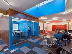 Bright colors and graphics. Conference rooms are on display.