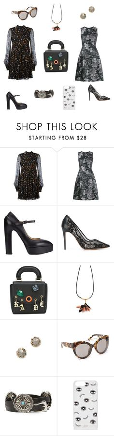 """""""Black with flowers...."""" by jamuna-kaalla ❤ liked on Polyvore featuring Alexander McQueen, Dolce&Gabbana, Vera Wang, Valentino, Christopher Kane, Marni, Rebecca Minkoff, 3.1 Phillip Lim, B-Low the Belt and Sonix"""