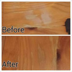 This is my personal pic. To get water stains out of wood furniture: iron a cotton tshirt directly over the stain and bam its gone!!