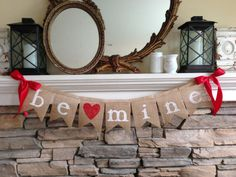 Valentines Day Burlap Banner Be Mine Banner by BurlapandTwineCo Bunting, Minions, Valentine Banner, Valentines Day Decorations, White Letters, Classroom Decor, Red And Pink, Disney, Burlap
