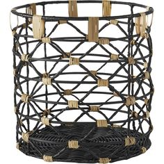 Shop beso rattan baskets. Two-tone rattan twists an open weave catchall around a sturdy iron frame. A beautiful contrast in neutrals. For big decorating ideas in small bathrooms, head to . beso baskets is a CB2 exclusive.