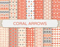Coral Arrow Background Clip Art - Gray and Orange Tribal Pattern, Geometric Design, Orange Triangle Digital Paper, Orange Aztec Printable