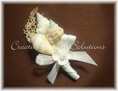 Beach Bridal Wedding SeaShell Boutonniere but with tiffany blue ribbons Seashell Wedding, Nautical Wedding, Diy Wedding, Dream Wedding, Wedding Ideas, Seashell Bouquet, Seashell Art, Seashell Crafts, Wedding 2015