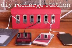 How-To: DIY DEVICE CHARGING STATION... Untangle cords and bring some order to your e-household with this DIY device charging station. Made from Dollarstore products.