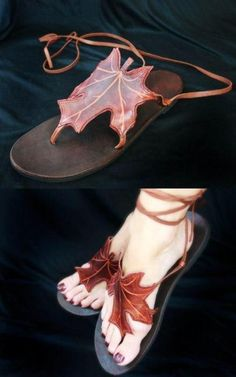 Leaf Sandals by Pendragon Shoes. http://www.pendragonshoes.com/Detail_leaf-sandals.html