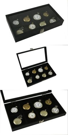 Antique 3940: 4 Pocket Watch Show Cases Display Antique Jewelry Supply Glass Top BUY IT NOW ONLY: $125.95