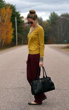burgundy pants, gold v-neck sweater