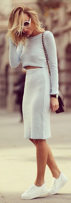 Missguided Baby Blue Knitted Skirt And Top Suit by Rock & Roses