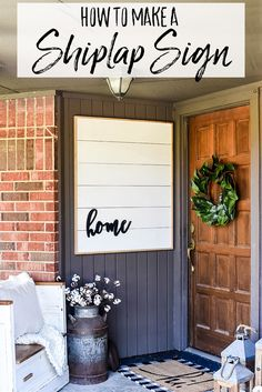 How to Make DIY Framed Shiplap - A Farmhouse Front Porch Idea - Our Handcrafted Life - Modern Design Front Porch Signs, Front Door Decor, Front Doors, Diy Front Porch Ideas, Porch Wall Decor, Patio Signs, Front Stoop, Patio Ideas, Backyard Ideas
