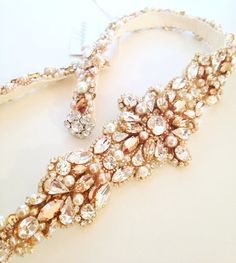 Rose Gold Crystal Bridal Belt- SWAROVSKI- Rhinestone, Sequin and Pearl Bridal Sash by HelenaNoelleCouture on Etsy