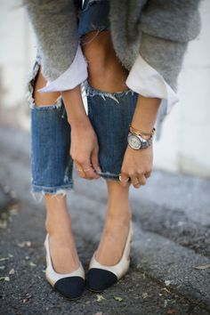 When your flats are this cute, cuffing your jeans is a must.