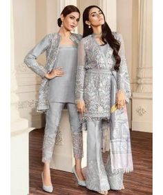 Buy Baroque Chantelle Embroidered Chiffon Collection – 07 - Fiona at YourLibaas. Shop online for Original Pakistani Party Wear Chiffon Suits. Pakistani Fashion Party Wear, Pakistani Formal Dresses, Pakistani Wedding Outfits, Pakistani Dress Design, Indian Fashion, Pakistani Dresses Online Shopping, Pakistani Suits Online, Suits Online Shopping, Pakistani Designer Suits
