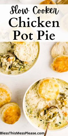 Crock Pot Chicken Pot Pie is a truly delicious meal that will warm you up on a cold winter day! With healthy vegetables, creamy chicken and a warm biscuit, this simple chicken dinner will win over your appetite. #crockpot #chicken #dinner #recipe Easy Chicken Pot Pie, Creamy Chicken, Chicken Recipes, Clean Eating Meal Plan, Clean Eating Recipes, Easy Family Dinners, Healthy Vegetables, Slow Cooker Chicken, Slow Cooker Recipes