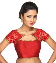 Red Embroidered Brocade Blouse