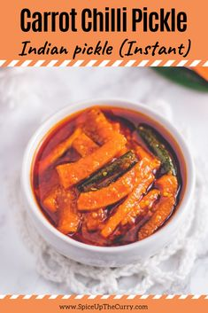 This homemade carrot pickle recipe is so easy to make and it's so much better than bottled stuff! It called Gajar ka achar in Hindi. Carrot Recipes, Snack Recipes, Cooking Recipes, Oats Recipes, Soup Recipes, Pickled Carrots, Cooked Carrots, Indian Food Recipes, Ethnic Recipes