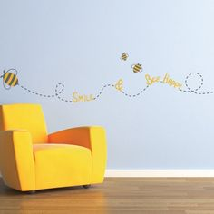 Forget the typical pastels and primary colors. The Bee Happy wall Decal will provide a positive and high energy to boys or girls.