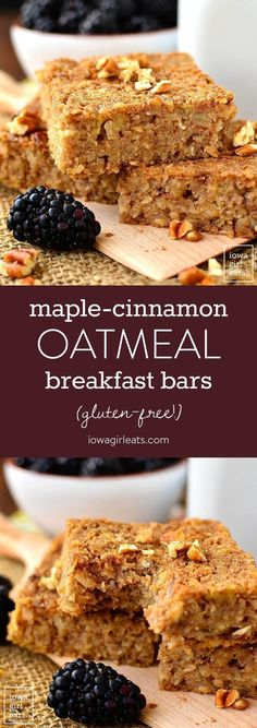 Maple-Cinnamon Oatmeal Breakfast Bars are naturally sweetened and gluten-free. Enjoy as a healthy snack or easy, on-the-go breakfast! | http://iowagirleats.com (Breakfast Baking Oatmeal)