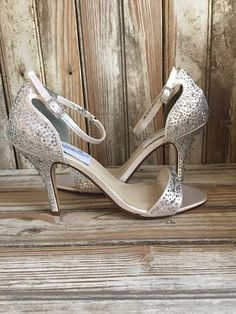 e0ea0dc28ec4 Fully beaded Bridal Sandal Prom Sandal with a 3 heel and ankle strap AB  stones cover