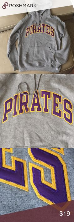 East Carolina (ECU) Pirates hoodie Unisex size M hoodie. Worn once. Embroidered PIRATES logo on front chest. Brand new condition russell athletic Sweaters