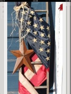 Old ladder and flag