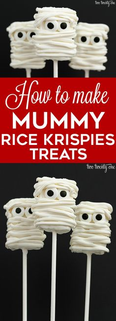 How to make mummy rice krispies treats! Plus, there's a video showing how to make them! Perfect for any Halloween party!