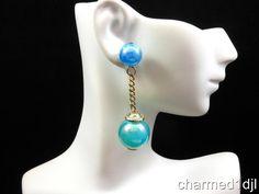 Marvella Blue Lucite Dangle Statement Ball Drop Earrings Iridescent 1960's Fun! #Marvella #DropDangle