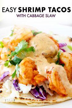 Tacos de Camaron (i., Shrimp Tacos) is quick and Fish Recipes, Seafood Recipes, Mexican Food Recipes, Dinner Recipes, Cooking Recipes, Ethnic Recipes, Dinner Menu, Shrimp Taco Sauce, Shrimp Tacos