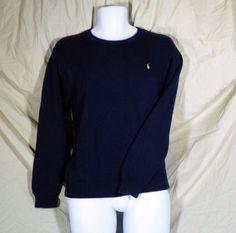 Polo Ralph Lauren Sweater blue Crew Neck pullover Green Pony Logo Large  L 16/18 #PoloRalphLauren #Crewneck