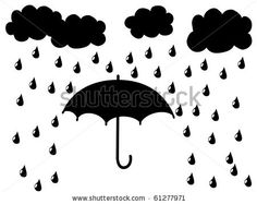 Black silhouette umbrella and clouds - stock vector