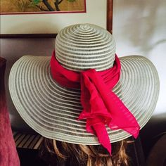 """Vintage Sheer Natural Beige Floppy Wide Brim Hat This Vintage 60's-70's Sheer Natural Beige Floppy Wide Brim Hat has a lovely long vintage magenta scarf bandana (13"""" x 62"""") that doubles to tie on the hat on a windy day. Inside Circumference Approx. 22""""; Brim: 5""""; Crown Height: 4""""  In wonderful preowned vintage condition. A great hat to wear or add to your collection. Smoke-free home. Please know your head circumference before ordering. The mannequin is a display model only & not reflective…"""