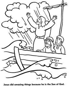 Coloring page to illustrate the Miracles of Jesus. Great picture of Jesus calming the storm with the disciples. Jesus Coloring Pages, Animal Coloring Pages, Coloring Book Pages, Coloring Sheets, Free Coloring, Colouring, Adult Coloring, Sunday School Activities, Sunday School Lessons