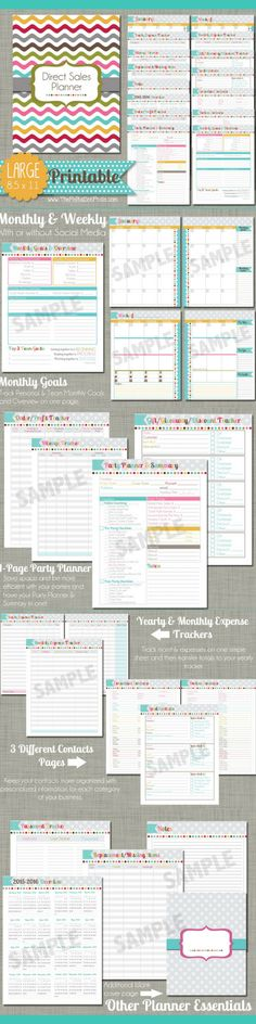 Printable Direct Sales Planner that can help you keep track of your direct sales business.Track your sales, parties, customer requests and much more for companies like Avon, Scentsy, Mary Kay, and Thirty-One.  #ad #Printable #directsales ##InstantDownload #businessowner