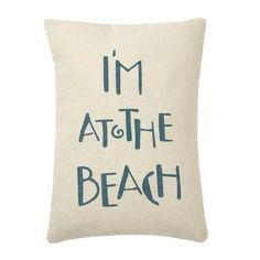 Im At The Beach - Canvas Throw / Accent Pillow - White & Blue 9-in x 7-in by Collins, around $11.95