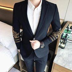 Gold Embroidery on Sleeves Details Men Black Blazer