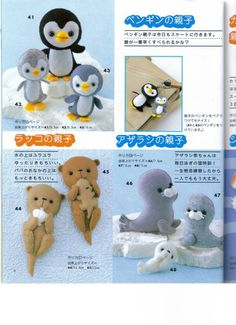 Penguins, otters, seals to make from felt, all of the needed patterns are there.  These are really cute.