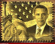 US Stamp - Barack Obama , 44th US President, (2009 - ) stamp created for Freaking News Photoshop contest