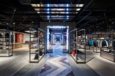 Lighting up Flannels Newcastle – by Fagerhult Lighting Concrete Materials, Concrete Tiles, Bicycle Store, Clothing Store Design, Ganesh Wallpaper, Luxury Store, Lighting Concepts, Retail Interior, Shop Interiors