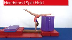 Handstand Split Hold Maintaining control is important for skills that pass through a handstand on beam. This drill is ideal for athletes working on handstand. Gymnastics Levels, Gymnastics Lessons, All About Gymnastics, Gymnastics Floor, Kids Gymnastics, Gymnastics Training, Gymnastics Workout, Tumbling Tips, Flick Flack